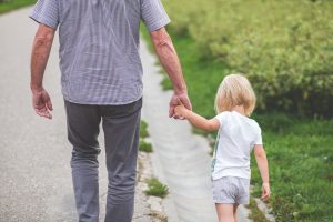 Child walking with her Father