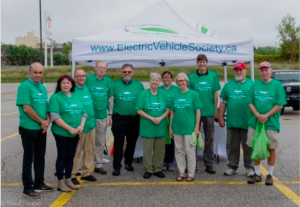 Volunteers at the Orillia Electric Vehicle Weekend event