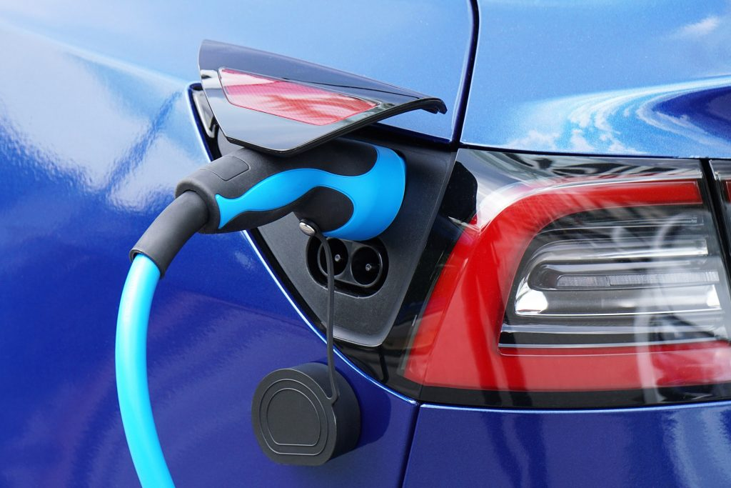 Electric Vehicle closeup of charging