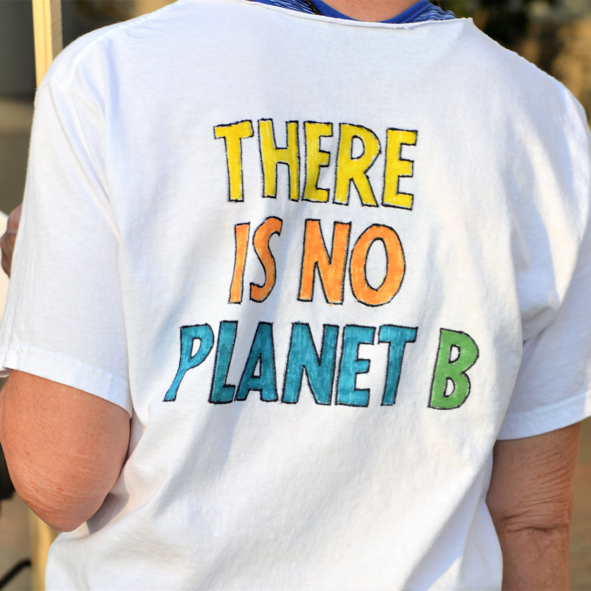 There is no Planet B sign on a t-shirt
