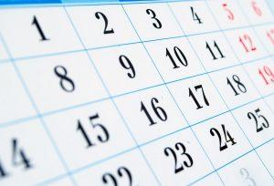Close up of a calendar page