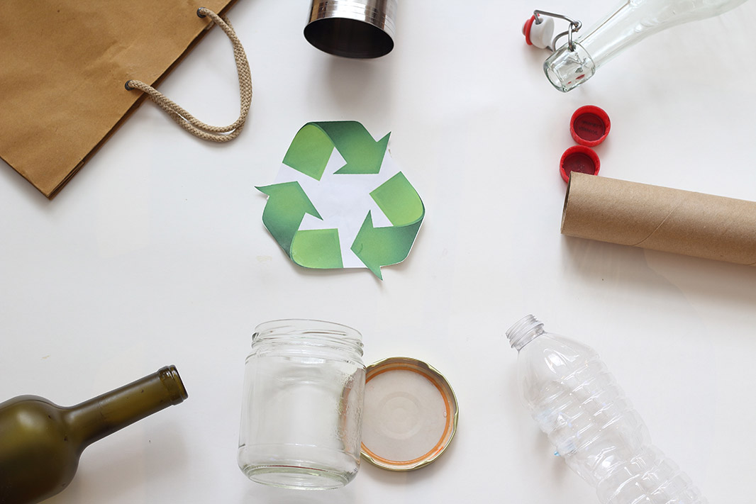 recycling symbol with recyclables
