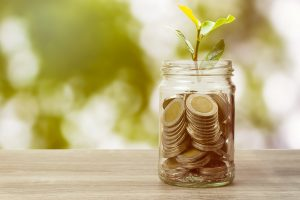 Plant growing on coins in jar on table on green nature background