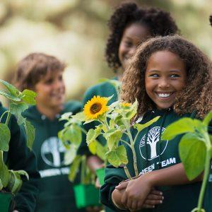 Children in an outdoor classroom growing sunflowers